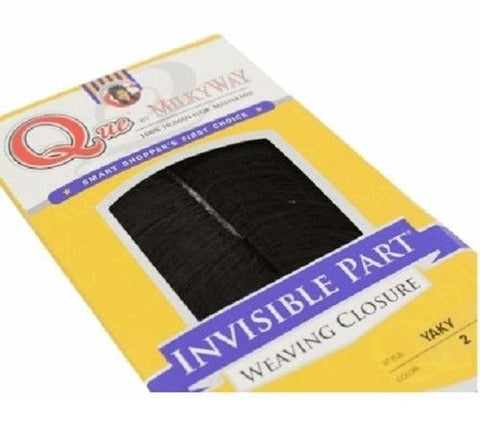 Que by MilkyWay 100% Human Hair MasterMix INVISIBLE PART WEAVING CLOSURE (12 , 1B OFF BLACK)