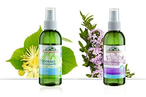 Corpore Sano Natural Non Staining Gas-free Spray Deodorants- Certified Bio Extract- Linden & Sage + Thyme 150ml.
