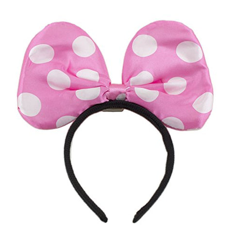 Adorox Red Polka Dot Minnie Mouse LED Headband Light up Bow Princess Costume Party Favor (Light Pink (1 Piece))