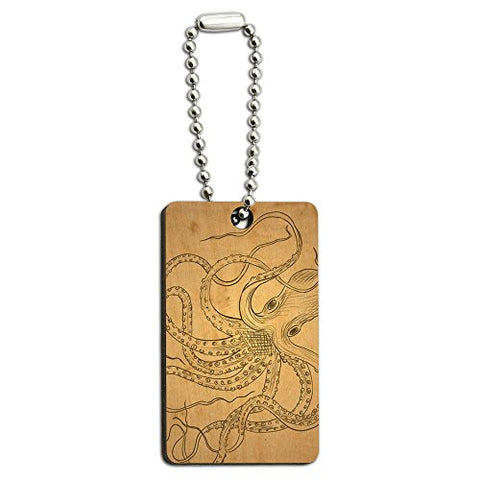 Vintage Ink Drawn Octopus - Sea Monster Tattoo Wood Wooden Rectangle Key Chain
