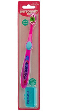Personally Me Kids Soft Toothbrush Childrens Personalized Name  STEPHANIE  Pink & Green 3+