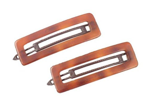 Charles J. Wahba Rectangle Cutout Delrin Barrette (Pair) - Tortoise Color - from FRANCE