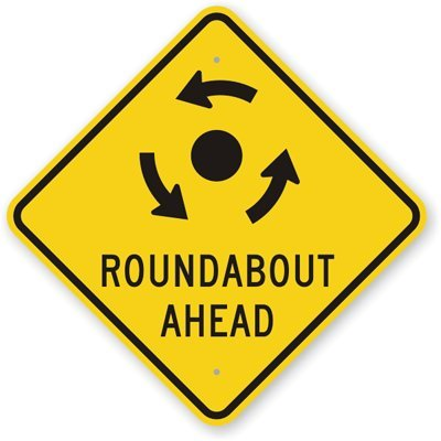 Roundabout Ahead (with Anti Clockwise Direction Arrows) Sign, 18  x 18