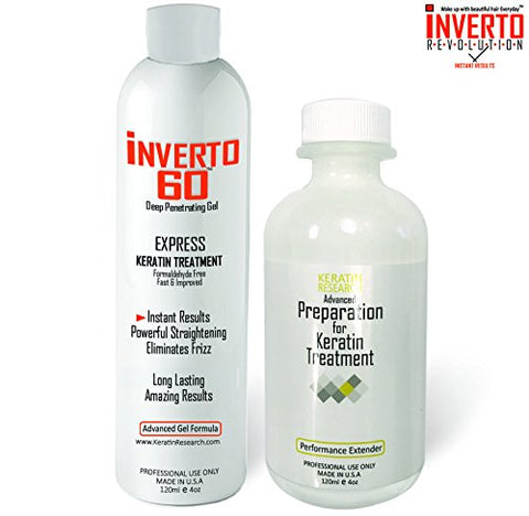 INVERTO 60 Advanced Gel Keratin Hair Treatment Formaldehyde Free ,120ml Includes Advanced Preparation for Keratin Treatment Performance Extender Straightening and Repairing Damaged Hair