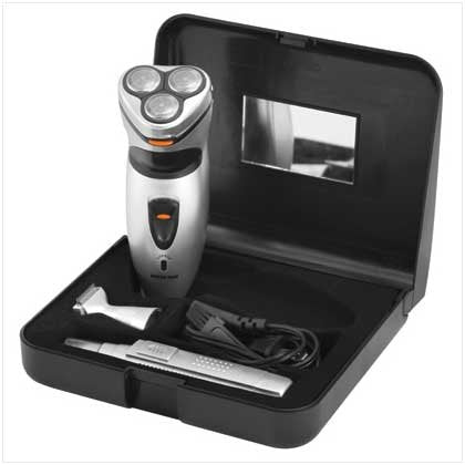Triple Blade Electric Rotary 3-In-1 Smart Shaver Shaving Kit - Shaver, Nose/Ear Trimmer, Mustache Comb