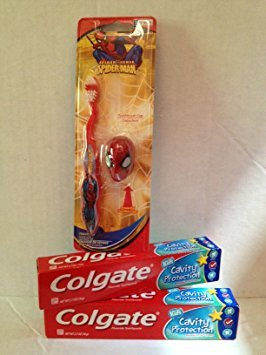 Spiderman Toothbrush & Cap Travel Kit (1), Colgate Kids Cavity Protection Bubble Fruit Flavor Toothpaste (3)