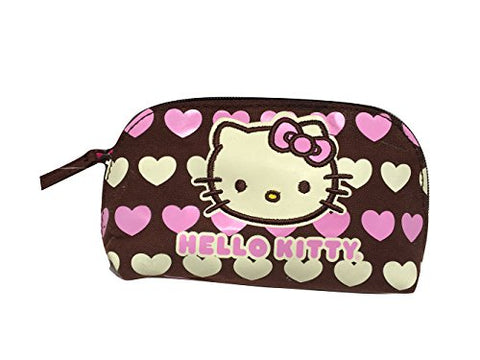 Hello Kitty Brown Canvas Hearts Cosmetic Bag
