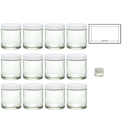 Clear Thick Glass Straight Sided Jar with White Smooth Lids - 4 oz / 120 ml  + Labels + Small Glass Balm Jar