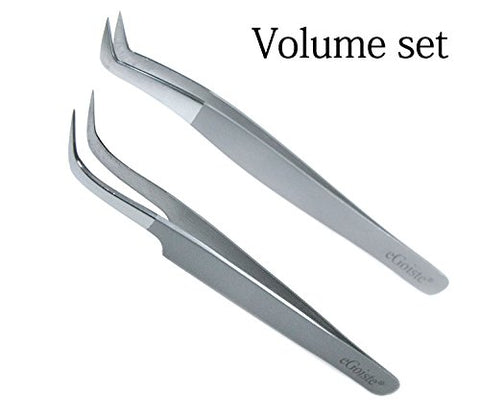 Eyelash Extension Tweezers Professional Set Of 2 Volume Tweezers Tools Especially for 3D 6D Volume Mink Eyelash extension Lashes (Volume)