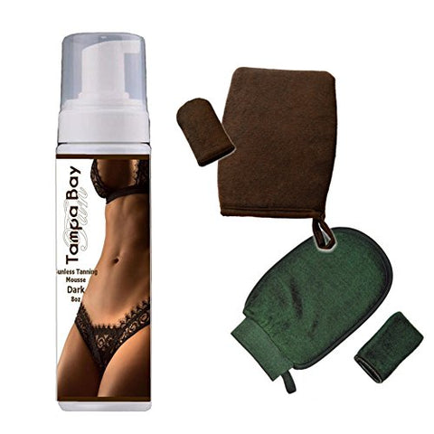 Tampa Bay Tan Sunless Tanning Mousse Dark w Smittens Applicater And Exfoliation Mitts Kit