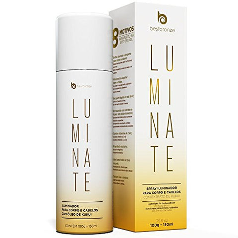 Bestbronze Luminate Shine Hair Spray and Body Golden Shimmer with KUKUI Extract, Vitamin A,C,E (3.5 fl oz)