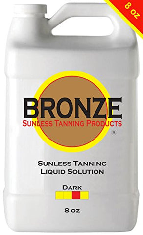 BRONZE - DARK - 8 oz - Best Sunless Self Tanning Liquid Spray Tan Solution for Airbrush Spray Tanning Machine - Best Sunless Self Tanning Liquid Spray Tan Solution, Foam Mousse, Lotion, Tanner, Tan