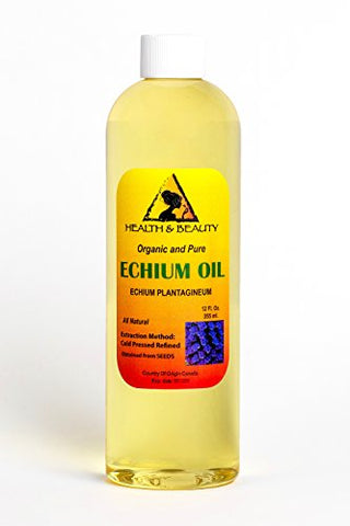Echium Seed Oil Refined Organic Carrier Cold Pressed Natural Fresh 100% Pure 12 oz