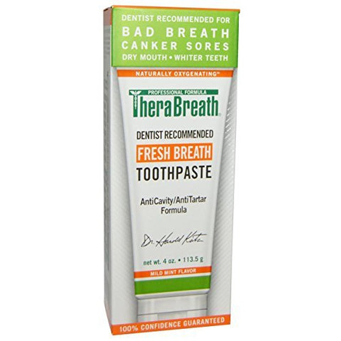 TheraBreath Dentist Recommended Fresh Breath Dry Mouth Toothpaste, Mild Mint, 4 Ounce  Thera-srdr