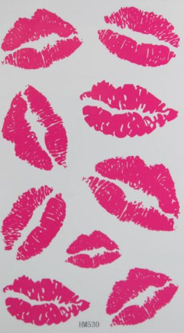 Fashion pink lip temporary tattoo stckers