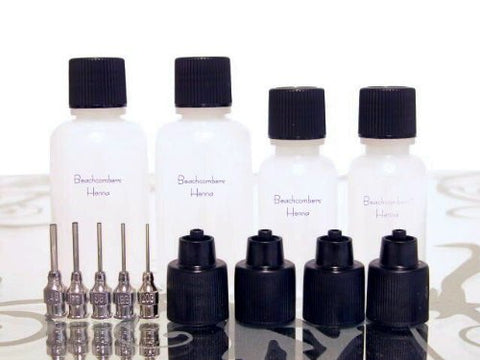 Beachcombers! Glue, Paint, Gel, Henna Paste Blunt Stainless Steel Professional Applicator Bottle Set 5 Tips 4 Bottles