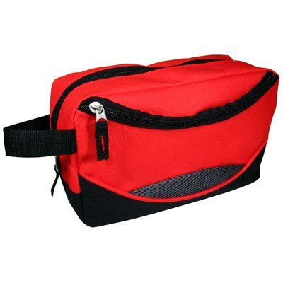 NPS EM-996 Red/Black 2-Pocket Toiletry Bag 10'' x 4'' x 6''