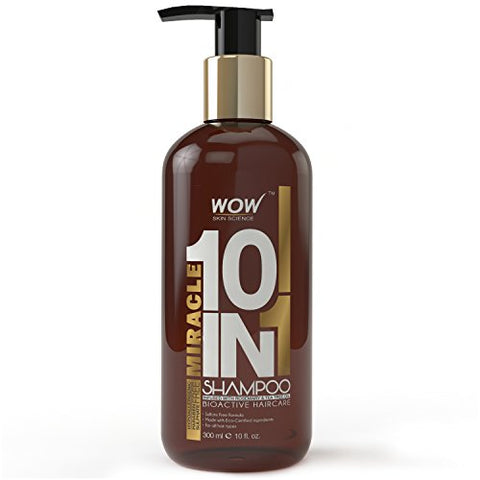 WOW Miracle 10 in 1 Shampoo - Hair Repair - Tea Tree Essential Oil & Moroccan Argan Oil - Nourish & Hydrate - Rosemary Extract, Shea Butter - Strengthen & Volumize - Parabens & Sulfate Free - 10 Fl Oz