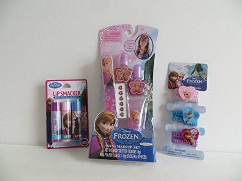 Disney Frozen SPARKLE LIKE ANNA Nail, Hair, Fabric Ponies + Lip Smacker Gift Set