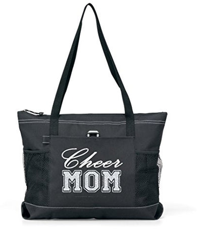 Silver Glitter CHEER Mom on a Black Sports Tote