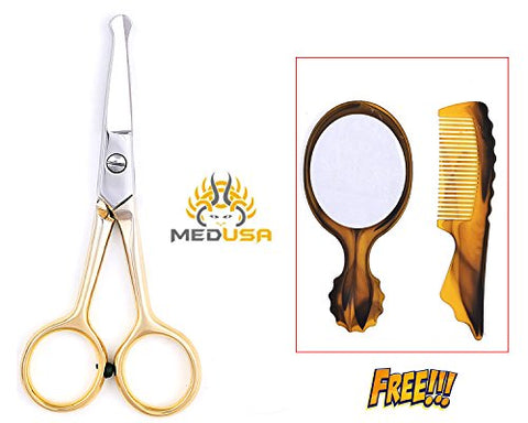 Golden Facial Hair Scissors, Eyebrow Trimmer, Grooming Scissors for Shaping, Ear, Nose, Nostril & Mustache Trimming for Men & Women