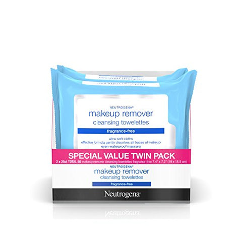 Neutrogena  Makeup Remover Cleansing Towelettes & Wipes, Fragrance Free, 25 Count, 2 Packs