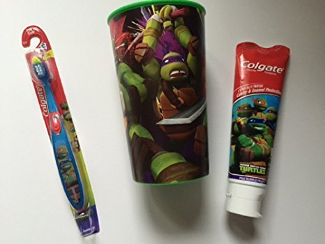 TMNT Dental Bundle Toothbrush Cup Toothpaste Brush Kids Colgate Teenage Mutant Ninja Turtles Cavity Fighting Fluoride