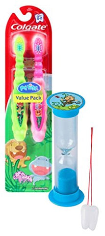 Wild Animal Safari 3pc Bright Smile Toddler Trainning Set! 2pk Soft Manual Toothbrush & Brushing Timer! Plus Bonus  Remember to Brush  Visual Aid!