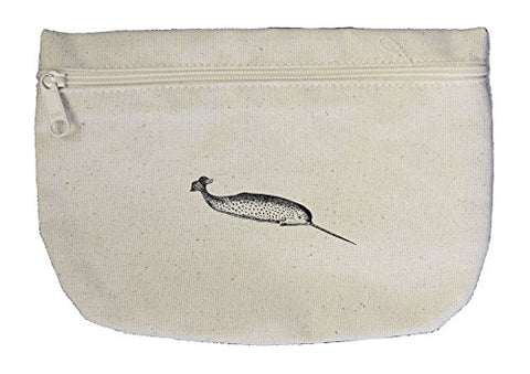 Narwhal Vintage Look Canvas Pouch with Zipper, Makeup Bag