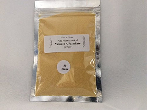VITAMIN A POWDER (Retinyl Palmitate, 50 gm) to reduce wrinkles, fade brown spots for a younger looking skin.