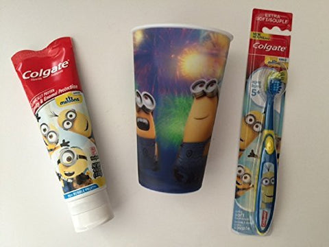 Minions Dental Bundle Toothbrush Childrens Cup Toothpaste Brush Kids Colgate Cavity Fighting Fluoride