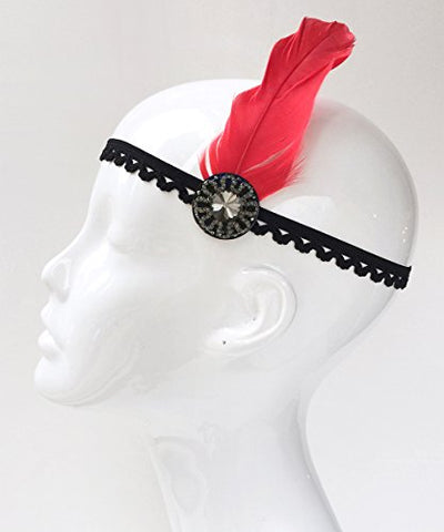Gatsby Black Flapper Headband with Red Feather, Costume Headpiece with Black Diamond