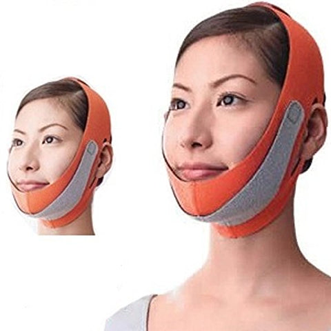 MELADY Fashion Lightweight Breathable Anti Wrinkle Jaw Pulling Thin Double Chin Compact Type V Line Face-lift Belt Mask Facial Exercisers (Orange)
