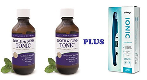 Dental Herb Company Tooth and Gums Tonic 18 Oz. Bottles + Dr. Tung Ionic Toothbrush