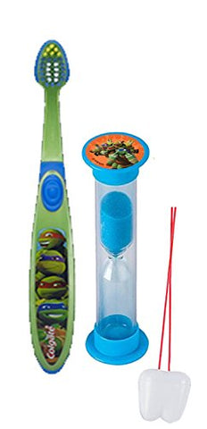 Teenage Mutant Ninja Turtles 2pc Bright Smile Oral Hygiene Set! Soft Manual Toothbrush & Brushing Timer! Plus  Remember To Brush  Visual Aid!