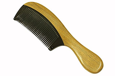 Beard Comb Beard Brush Medium Tooth Hair Comb Sandalwood Comb Frame and Handle with Buffalo Horn Teeth Handmade Comb - JM012