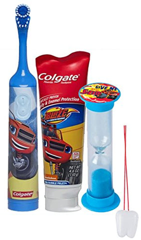 Blaze and the Monster Machines  3pc Bright Smile Oral Hygiene Set! Turbo Spin Toothbrush, Toothpaste & Brusing Timer! Plus Bonus  Remember To Brush  Visual Aid