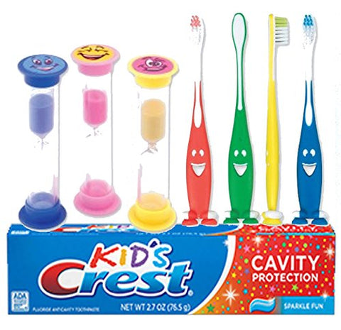 Happy Face 7pc. Bright Smile Oral Hygiene Set! Soft Manual Toothbrush, Crest Kids Sparkling Toothpaste & Smiley Face Brushing Timer