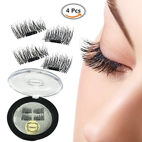False Magnetic Eyelashes, Magnetic False Eye Lashes Magnet Eyelashes, 1 pair (4 piece) Ultra-thin 0.2mm Magnetic false eyelashes 3D Natural Reusable False Magnet Eyelashes Extension