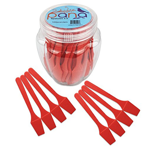 Beauticom Pana Brand (RED Color) (100pcs in a Container) Cosmetic Make Up Disposable Plastic 2.5  Spatulas Skin Care Facial Cream Mask Spatula
