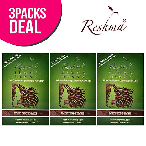 Reshma 100% Natural Henna Semi Permanent Hair Color 2.12oz (Dark Chocolate)