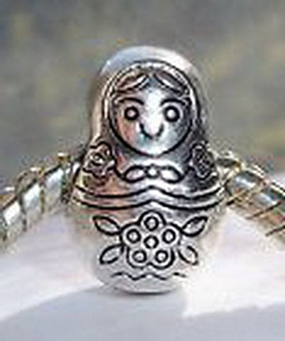 Beads Hut - Russian Doll Russia Travel Toy Bead Gift fits Silver European Charm Bracelets