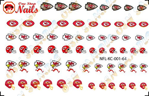 Kansas City Chiefs Waterslide Nail Decals V1 (Set of 64)