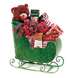 22.5  Decorative Green Santa's Sleigh Christmas Display Decoration with Holly Berry Accents