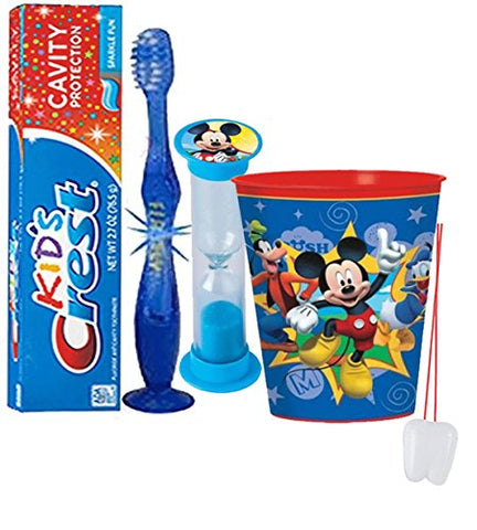 Disney  Mickey Mouse Club House  Inspired 4pc Bright Smile Oral Hygiene Set! Flashing Lights Toothbrush, Toothpaste, Brushing Timer & Mouthwash Rinse Cup! Plus Bonus  Remember To Brush  Visual Aid!