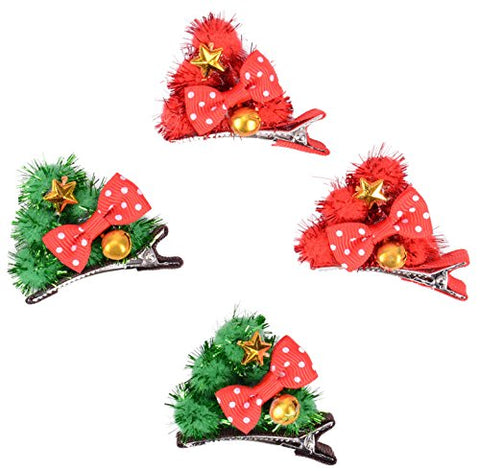 Girl's 4 Pc Hair Clips with Decorative Bow & Gold X-mas Bells & Star