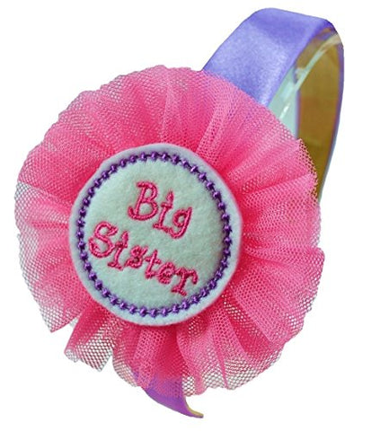 Big Sister Satin Arch Headband with Tulle Flower Funny Girl Designs