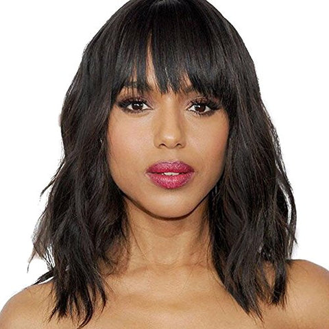Royal-First Glueless Natural loose Wave Short Bob Lace Front Wig With Bangs Brazilian Virgin Human Hair Wigs for Women 12inch 1b# Color