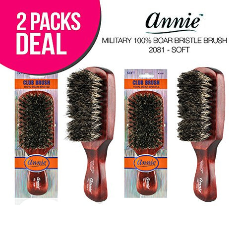 ! ANNIE Military 100% Boar Bristle Club Brush, Pure Boar Bristle Brush, Beard Brush (Soft)