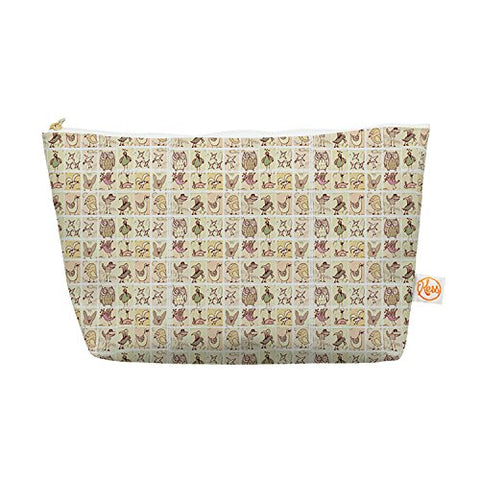 Kess InHouse Everything Bag, Tapered Pouch, Marianna Tankelevich  Cute Birds  Tan Grid, 8.5 x 4 Inches (MT1025BEP03)